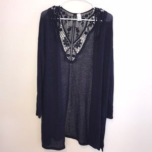 Cardigan with Lace Detail